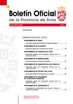 Boletín Oficial de la Provincia del viernes, 6 de abril de 2018