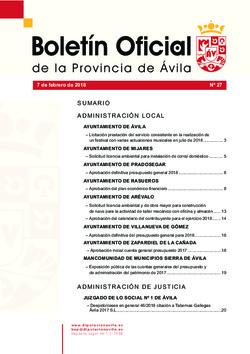 Boletín Oficial de la Provincia del miércoles, 7 de febrero de 2018