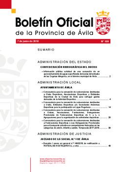 Boletín Oficial de la Provincia del jueves, 7 de junio de 2018