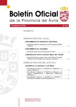 Boletín Oficial de la Provincia del martes, 7 de agosto de 2018