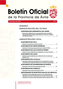 Boletín Oficial de la Provincia del lunes, 8 de enero de 2018