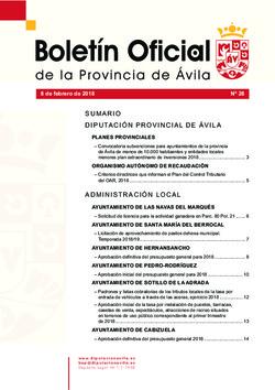 Boletín Oficial de la Provincia del jueves, 8 de febrero de 2018