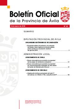 Boletín Oficial de la Provincia del jueves, 8 de marzo de 2018