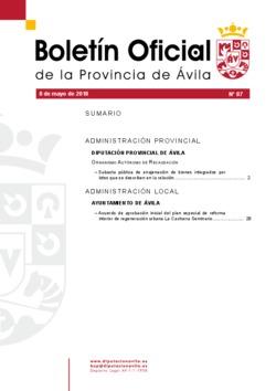 Boletín Oficial de la Provincia del martes, 8 de mayo de 2018