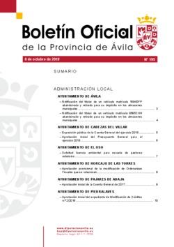 Boletín Oficial de la Provincia del lunes, 8 de octubre de 2018