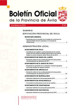 Boletín Oficial de la Provincia del viernes, 9 de febrero de 2018