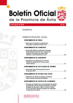 Boletín Oficial de la Provincia del viernes, 9 de marzo de 2018