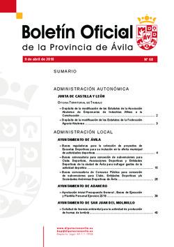 Boletín Oficial de la Provincia del lunes, 9 de abril de 2018