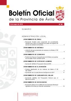 Boletín Oficial de la Provincia del miércoles, 9 de mayo de 2018