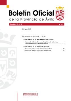 Boletín Oficial de la Provincia del lunes, 9 de julio de 2018