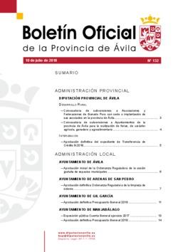 Boletín Oficial de la Provincia del martes, 10 de julio de 2018