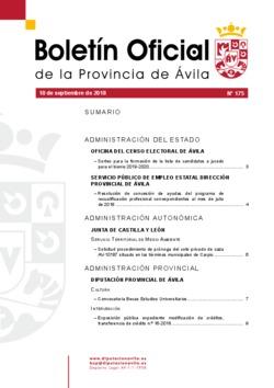 Boletín Oficial de la Provincia del lunes, 10 de septiembre de 2018