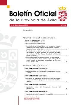 Boletín Oficial de la Provincia del lunes, 10 de diciembre de 2018