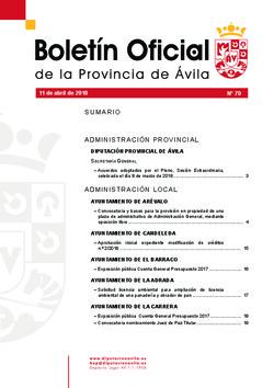 Boletín Oficial de la Provincia del miércoles, 11 de abril de 2018