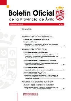 Boletín Oficial de la Provincia del lunes, 11 de junio de 2018