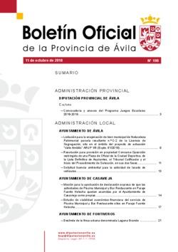 Boletín Oficial de la Provincia del jueves, 11 de octubre de 2018