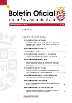 Boletín Oficial de la Provincia del martes, 11 de diciembre de 2018