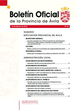 Boletín Oficial de la Provincia del lunes, 12 de febrero de 2018