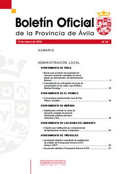 Boletín Oficial de la Provincia del lunes, 12 de marzo de 2018
