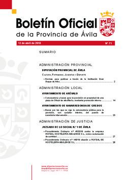 Boletín Oficial de la Provincia del jueves, 12 de abril de 2018