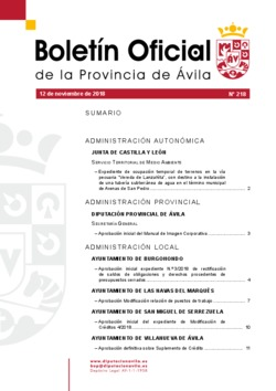 Boletín Oficial de la Provincia del lunes, 12 de noviembre de 2018