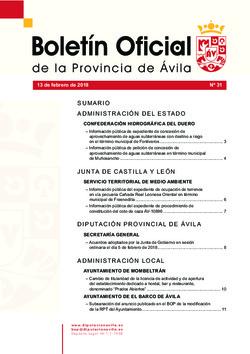 Boletín Oficial de la Provincia del martes, 13 de febrero de 2018