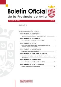 Boletín Oficial de la Provincia del viernes, 13 de julio de 2018