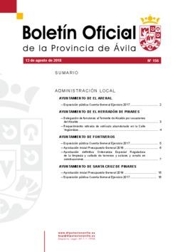 Boletín Oficial de la Provincia del lunes, 13 de agosto de 2018
