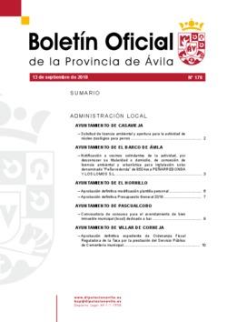 Boletín Oficial de la Provincia del jueves, 13 de septiembre de 2018