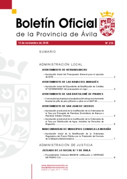 Boletín Oficial de la Provincia del martes, 13 de noviembre de 2018