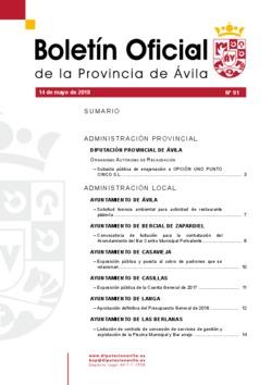 Boletín Oficial de la Provincia del lunes, 14 de mayo de 2018