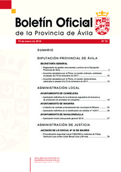 Boletín Oficial de la Provincia del lunes, 15 de enero de 2018