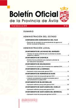 Boletín Oficial de la Provincia del jueves, 15 de febrero de 2018