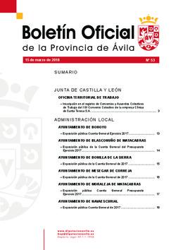 Boletín Oficial de la Provincia del jueves, 15 de marzo de 2018