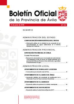 Boletín Oficial de la Provincia del viernes, 15 de junio de 2018