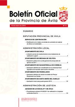 Boletín Oficial de la Provincia del martes, 16 de enero de 2018