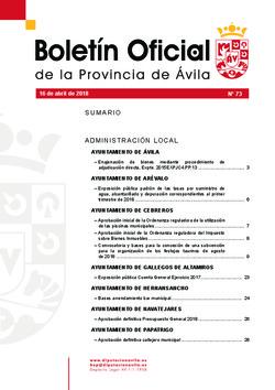 Boletín Oficial de la Provincia del lunes, 16 de abril de 2018