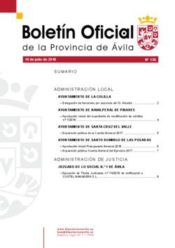 Boletín Oficial de la Provincia del lunes, 16 de julio de 2018
