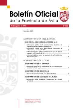 Boletín Oficial de la Provincia del jueves, 16 de agosto de 2018