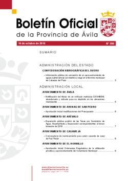 Boletín Oficial de la Provincia del martes, 16 de octubre de 2018