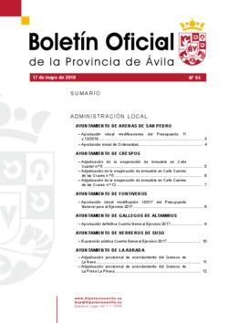 Boletín Oficial de la Provincia del jueves, 17 de mayo de 2018
