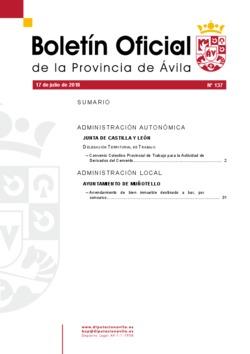 Boletín Oficial de la Provincia del martes, 17 de julio de 2018
