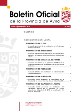 Boletín Oficial de la Provincia del lunes, 17 de septiembre de 2018