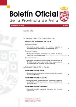 Boletín Oficial de la Provincia del miércoles, 18 de julio de 2018