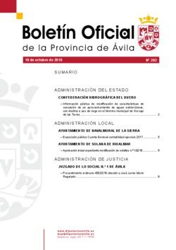 Boletín Oficial de la Provincia del jueves, 18 de octubre de 2018