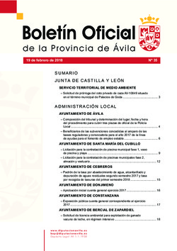 Boletín Oficial de la Provincia del lunes, 19 de febrero de 2018