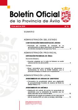 Boletín Oficial de la Provincia del jueves, 19 de abril de 2018