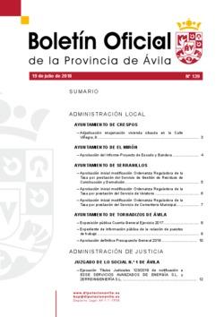 Boletín Oficial de la Provincia del jueves, 19 de julio de 2018