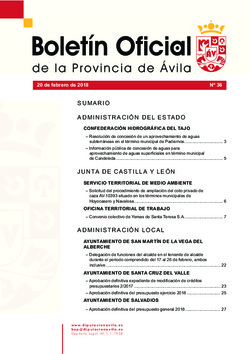 Boletín Oficial de la Provincia del martes, 20 de febrero de 2018