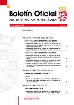 Boletín Oficial de la Provincia del viernes, 20 de abril de 2018